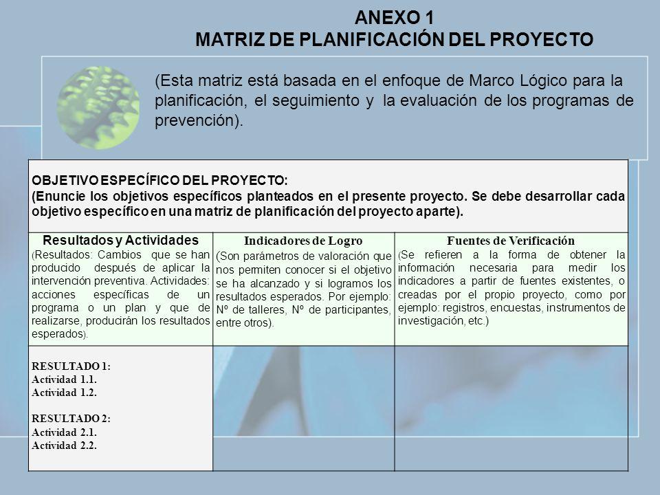 ANEXO 1 MATRIZ DE PLANIFICACIÓN DEL PROYECTO (Esta matriz está basada en el enfoque de Marco Lógico para la planificación, el seguimiento y la evaluac