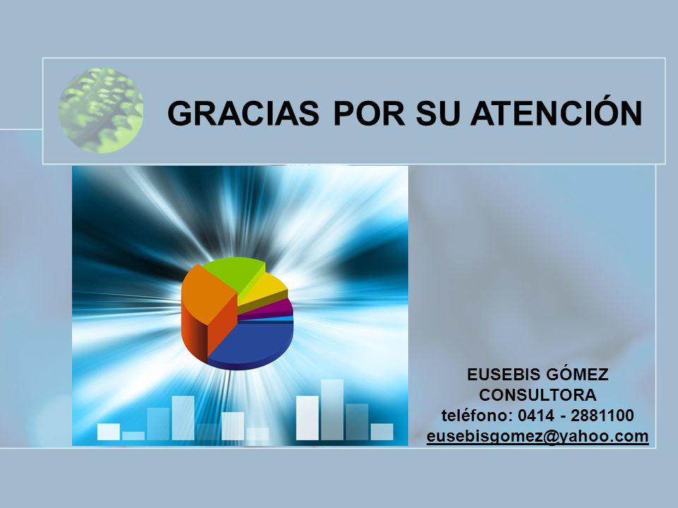 EUSEBIS GÓMEZ CONSULTORA teléfono: 0414 - 2881100 eusebisgomez@yahoo.com GRACIAS POR SU ATENCIÓN