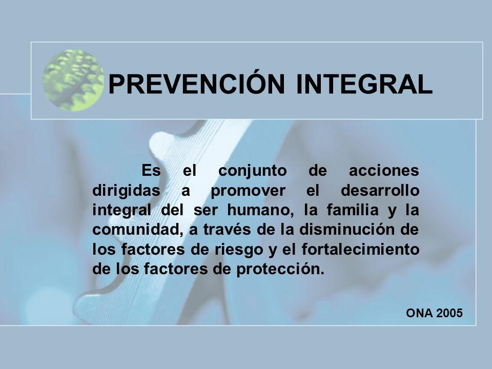 PREVENCIÓN INTEGRAL Es el conjunto de acciones dirigidas a promover el desarrollo integral del ser humano, la familia y la comunidad, a través de la d