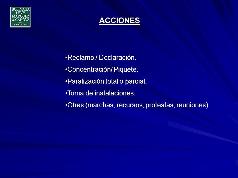 ACCIONES Reclamo / Declaración. Concentración/ Piquete.