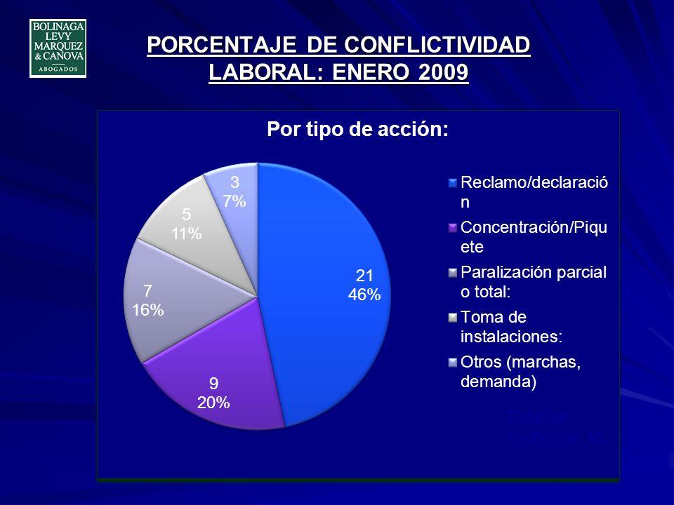 PORCENTAJE DE CONFLICTIVIDAD LABORAL: ENERO 2009