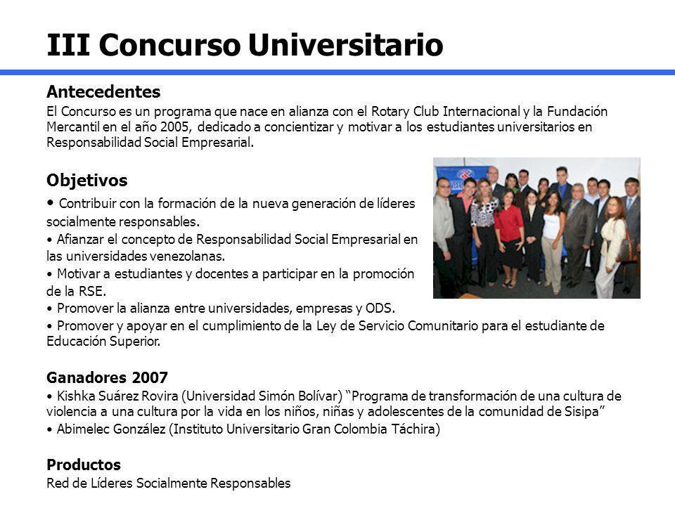III Concurso Universitario Antecedentes El Concurso es un programa que nace en alianza con el Rotary Club Internacional y la Fundación Mercantil en el