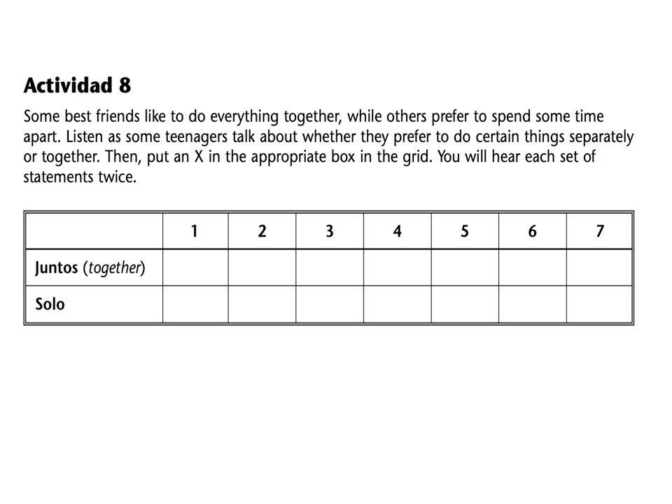 Salida: Práctica de las acciones recíprocas [en el libro importante] Write each verb in the reciprocal form in the imperfect.