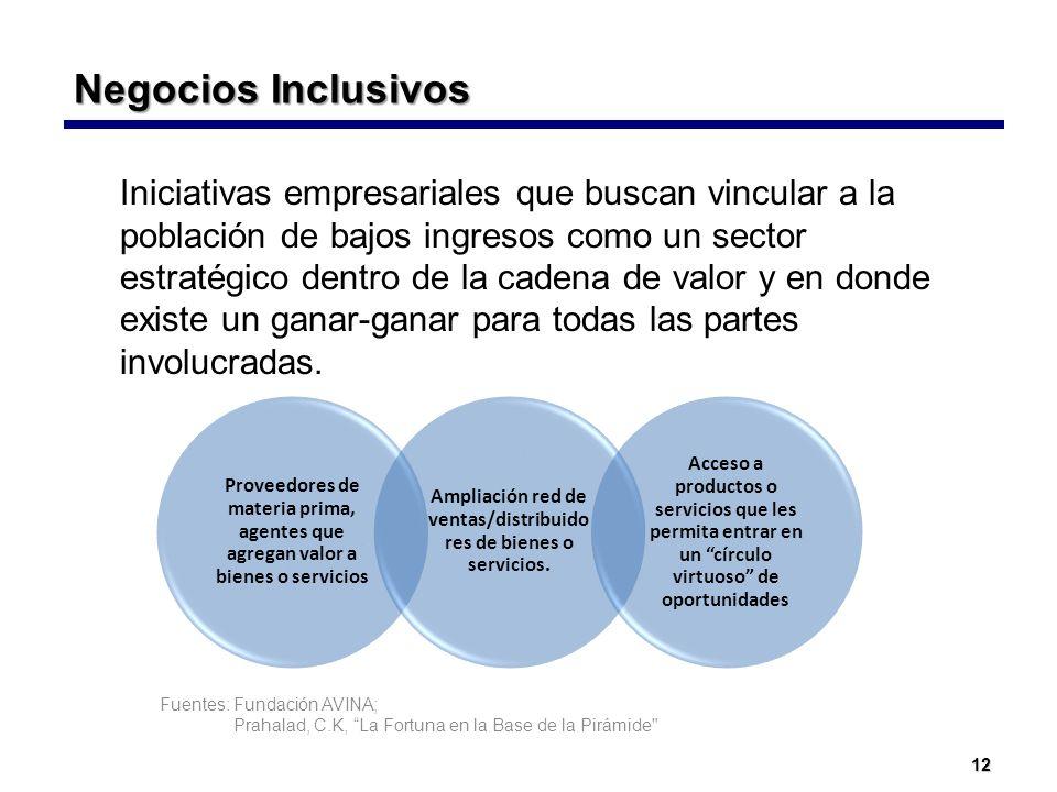 12 Negocios Inclusivos Negocios Inclusivos Iniciativas empresariales que buscan vincular a la población de bajos ingresos como un sector estratégico d