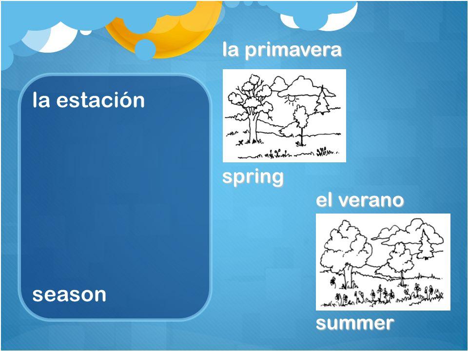 la estación season el otoño fall, autumn el invierno winter