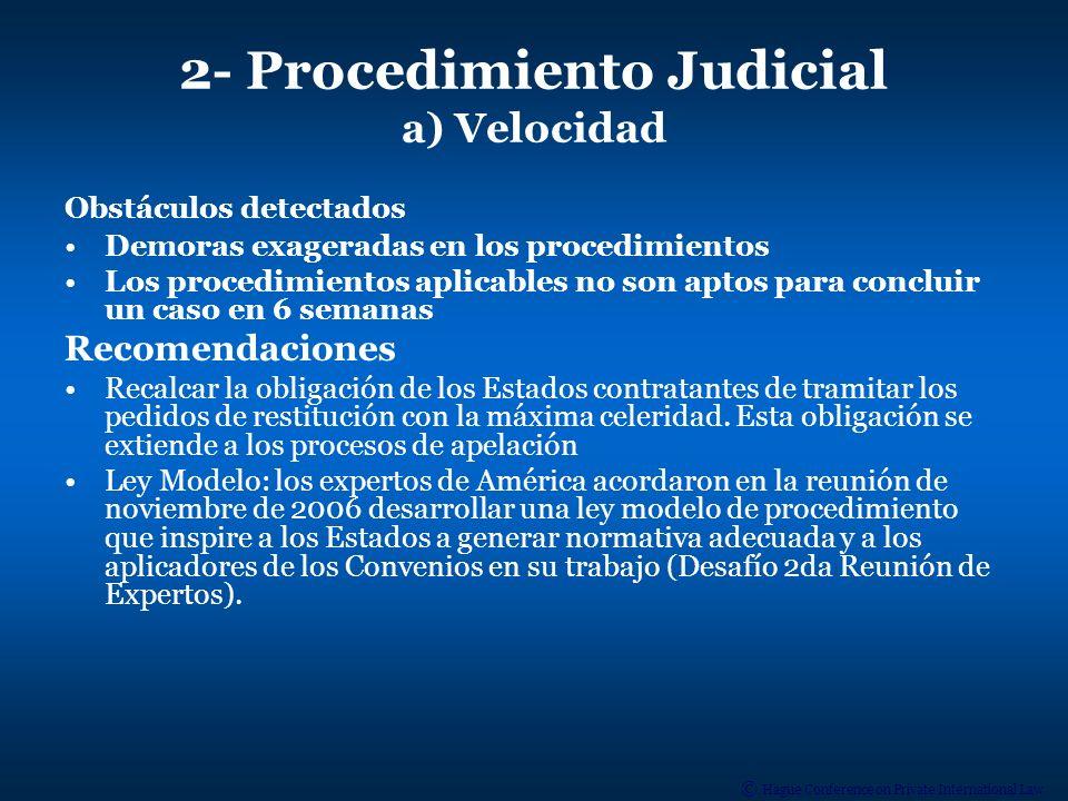 © Hague Conference on Private International Law b) Interpretación de los Convenios Obstáculos detectados Falta de conocimiento de los Convenios por parte de los Jueces Confusión entre procedimientos de restitución y de custodia Interpretación del art.