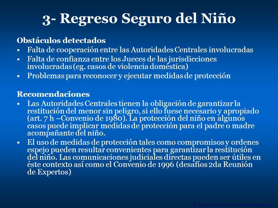 © Hague Conference on Private International Law 4- Acceso o visitas Obstáculos detectados El art.