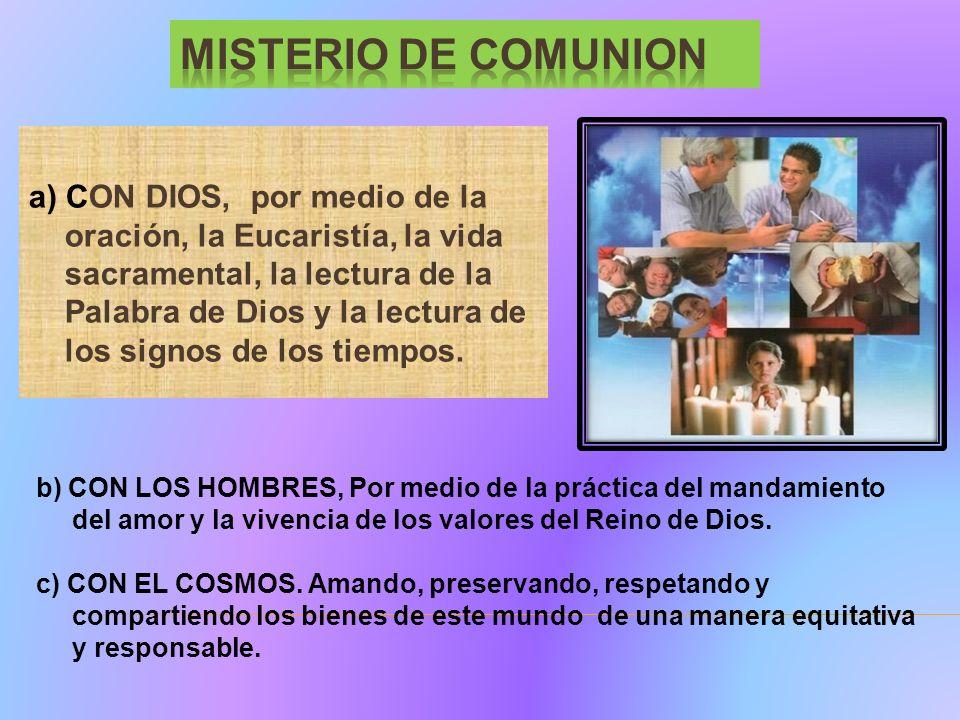 a) CON DIOS, por medio de la oración, la Eucaristía, la vida sacramental, la lectura de la Palabra de Dios y la lectura de los signos de los tiempos.