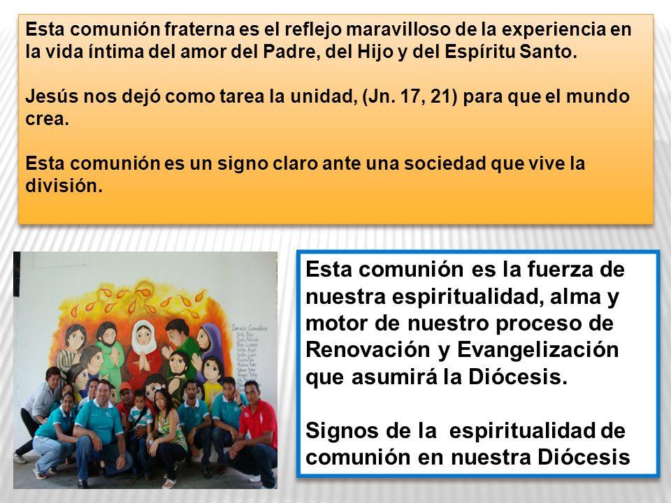 Esta comunión fraterna es el reflejo maravilloso de la experiencia en la vida íntima del amor del Padre, del Hijo y del Espíritu Santo.