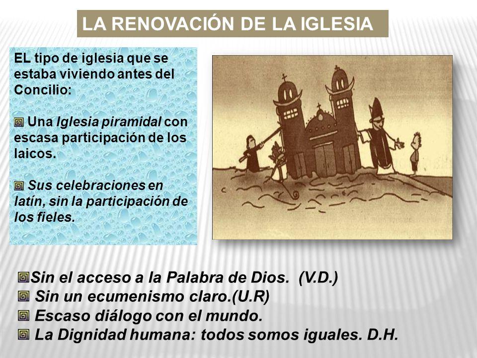 LA RENOVACIÓN DE LA IGLESIA EL tipo de iglesia que se estaba viviendo antes del Concilio: Una Iglesia piramidal con escasa participación de los laicos