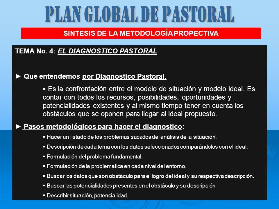 SINTESIS DE LA METODOLOGÍA PROPECTIVA TEMA No. 4: EL DIAGNOSTICO PASTORAL Que entendemos por Diagnostico Pastoral. Es la confrontación entre el modelo