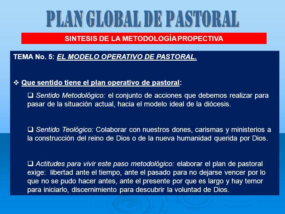 TEMA No. 5: EL MODELO OPERATIVO DE PASTORAL. Que sentido tiene el plan operativo de pastoral: Sentido Metodológico: el conjunto de acciones que debemo