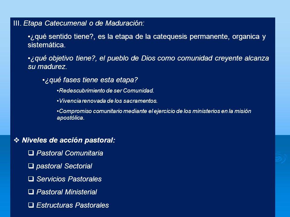 III. Etapa Catecumenal o de Maduración: ¿qué sentido tiene?, es la etapa de la catequesis permanente, organica y sistemática. ¿qué objetivo tiene?, el
