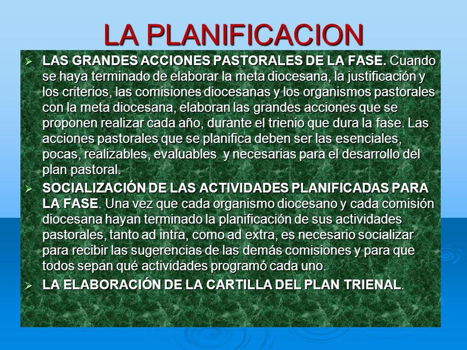 LA PLANIFICACION LAS GRANDES ACCIONES PASTORALES DE LA FASE. Cuando se haya terminado de elaborar la meta diocesana, la justificación y los criterios,
