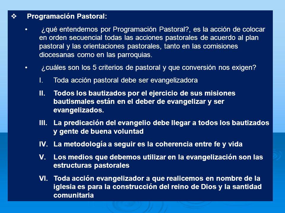 Programación Pastoral: ¿qué entendemos por Programación Pastoral?, es la acción de colocar en orden secuencial todas las acciones pastorales de acuerd