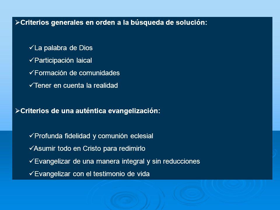 Criterios generales en orden a la búsqueda de solución: La palabra de Dios Participación laical Formación de comunidades Tener en cuenta la realidad C