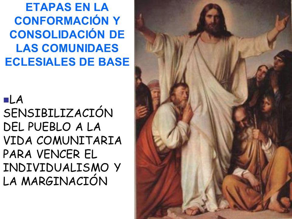 ETAPAS EN LA CONFORMACIÓN Y CONSOLIDACIÓN DE LAS COMUNIDAES ECLESIALES DE BASE LA SENSIBILIZACIÓN DEL PUEBLO A LA VIDA COMUNITARIA PARA VENCER EL INDIVIDUALISMO Y LA MARGINACIÓN