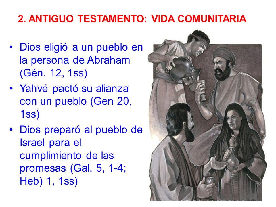 2.ANTIGUO TESTAMENTO: VIDA COMUNITARIA Dios eligió a un pueblo en la persona de Abraham (Gén.