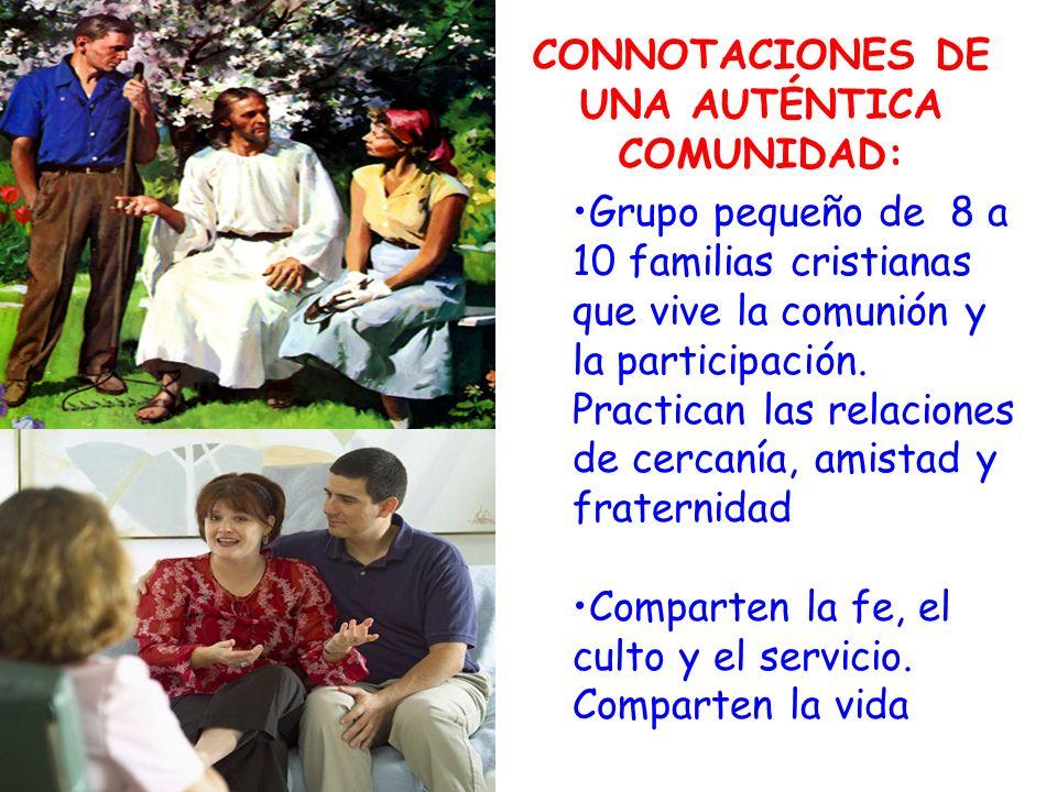 CONNOTACIONES DE UNA AUTÉNTICA COMUNIDAD: Grupo pequeño de 8 a 10 familias cristianas que vive la comunión y la participación.