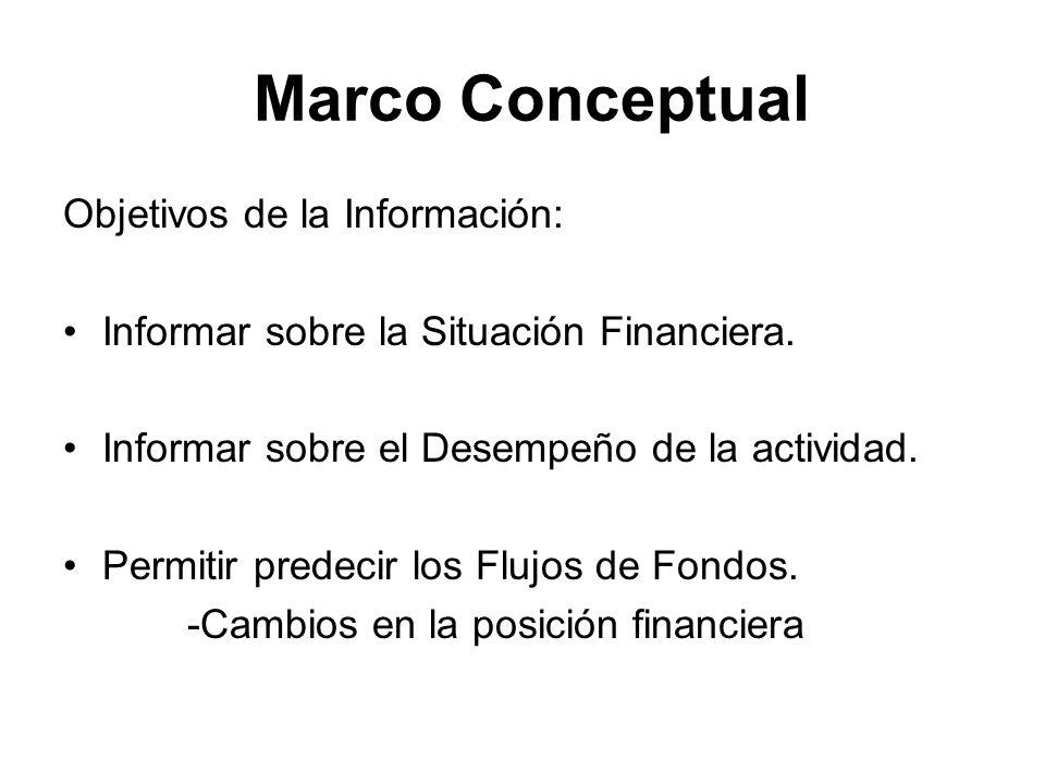 Marco Conceptual Objetivos de la Información: Informar sobre la Situación Financiera. Informar sobre el Desempeño de la actividad. Permitir predecir l