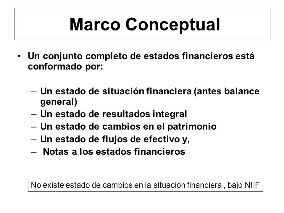 Marco Conceptual Un conjunto completo de estados financieros está conformado por: –Un estado de situación financiera (antes balance general) –Un estad