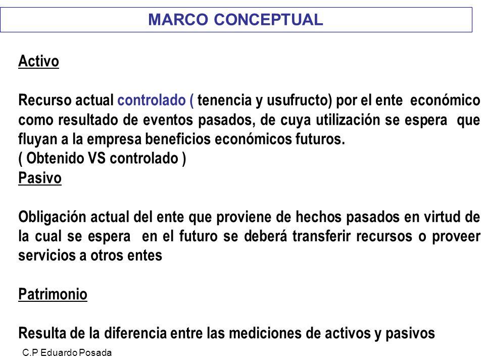 MARCO CONCEPTUAL Activo Recurso actual controlado ( tenencia y usufructo) por el ente económico como resultado de eventos pasados, de cuya utilización