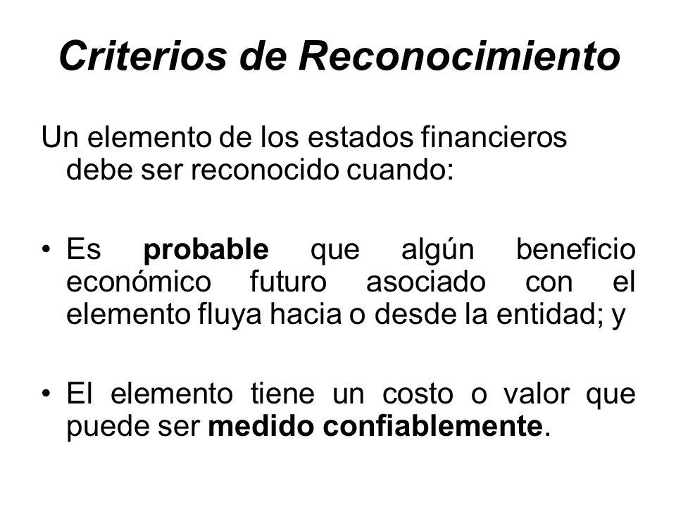 Criterios de Reconocimiento Un elemento de los estados financieros debe ser reconocido cuando: Es probable que algún beneficio económico futuro asocia