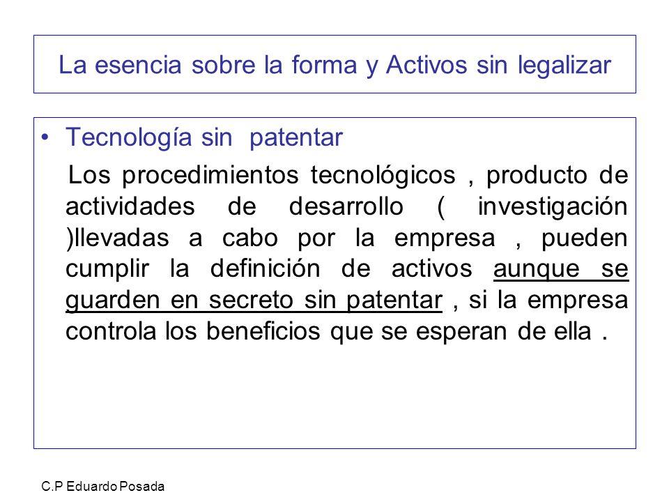 La esencia sobre la forma y Activos sin legalizar Tecnología sin patentar Los procedimientos tecnológicos, producto de actividades de desarrollo ( inv