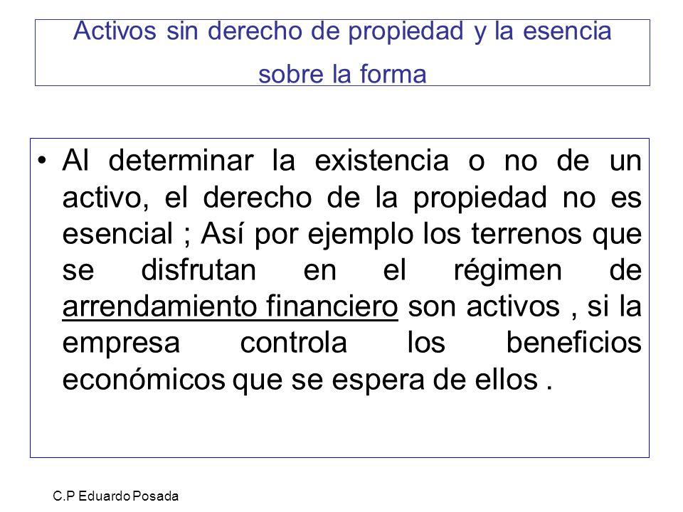Activos sin derecho de propiedad y la esencia sobre la forma Al determinar la existencia o no de un activo, el derecho de la propiedad no es esencial