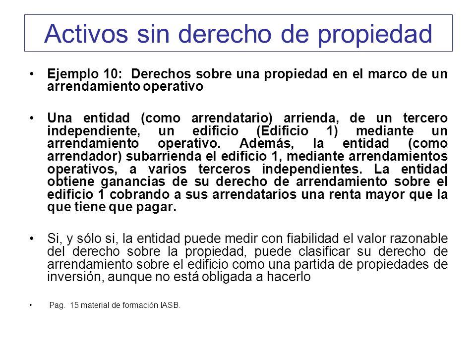 Activos sin derecho de propiedad Ejemplo 10: Derechos sobre una propiedad en el marco de un arrendamiento operativo Una entidad (como arrendatario) ar
