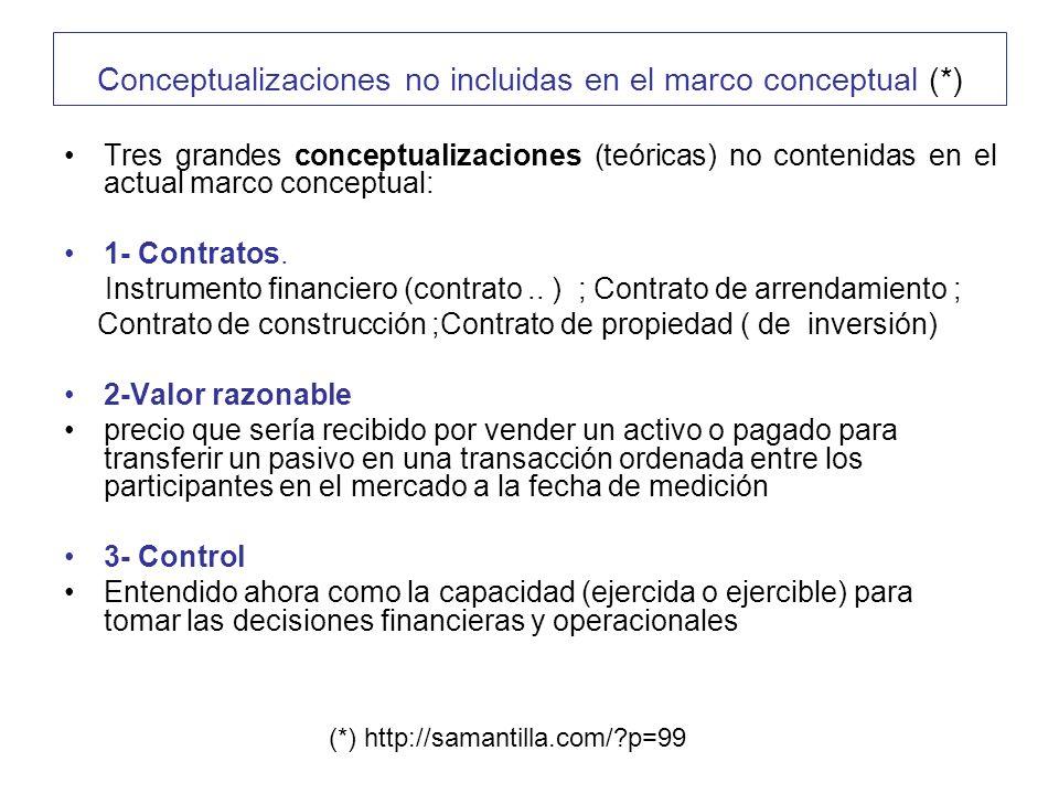 Conceptualizaciones no incluidas en el marco conceptual (*) Tres grandes conceptualizaciones (teóricas) no contenidas en el actual marco conceptual: 1