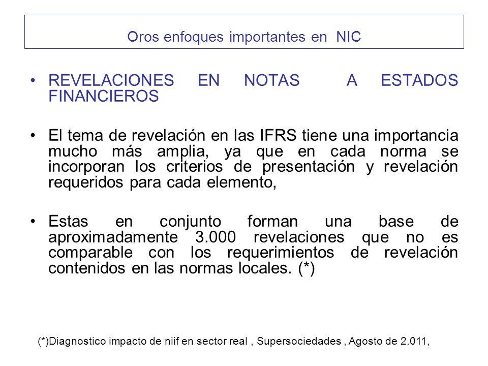 REVELACIONES EN NOTAS A ESTADOS FINANCIEROS El tema de revelación en las IFRS tiene una importancia mucho más amplia, ya que en cada norma se incorpor