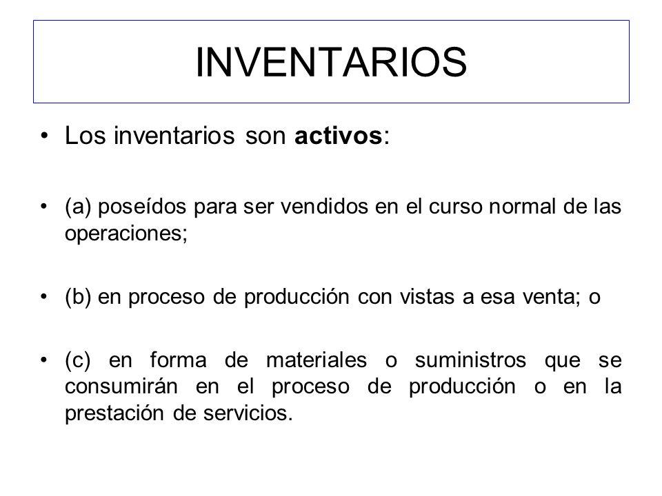INVENTARIOS Los inventarios son activos: (a) poseídos para ser vendidos en el curso normal de las operaciones; (b) en proceso de producción con vistas