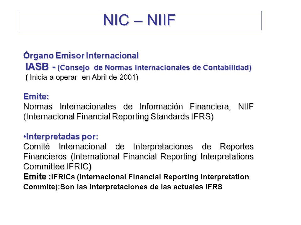 Órgano Emisor Internacional IASB - (Consejo de Normas Internacionales de Contabilidad) IASB - (Consejo de Normas Internacionales de Contabilidad) ( In