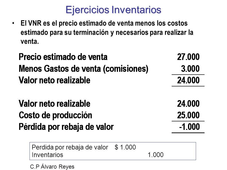 Ejercicios Inventarios El VNR es el precio estimado de venta menos los costos estimado para su terminación y necesarios para realizar la venta. C.P Ál