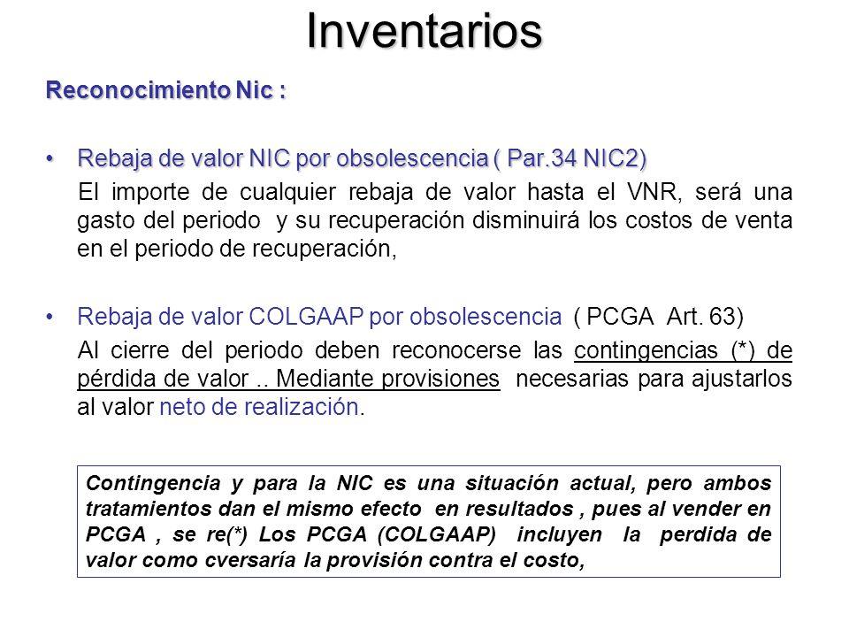 Inventarios Reconocimiento Nic : Rebaja de valor NIC por obsolescencia ( Par.34 NIC2)Rebaja de valor NIC por obsolescencia ( Par.34 NIC2) El importe d