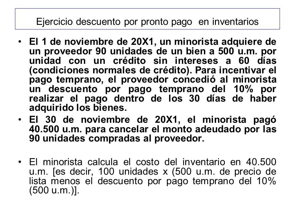 Ejercicio descuento por pronto pago en inventarios El 1 de noviembre de 20X1, un minorista adquiere de un proveedor 90 unidades de un bien a 500 u.m.