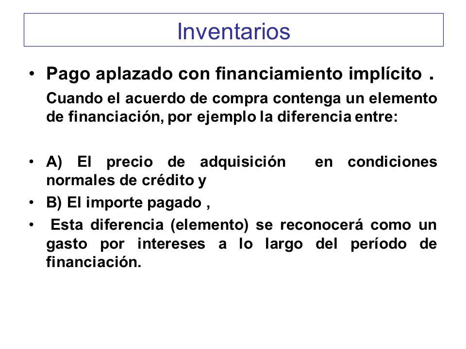 Inventarios Pago aplazado con financiamiento implícito. Cuando el acuerdo de compra contenga un elemento de financiación, por ejemplo la diferencia en