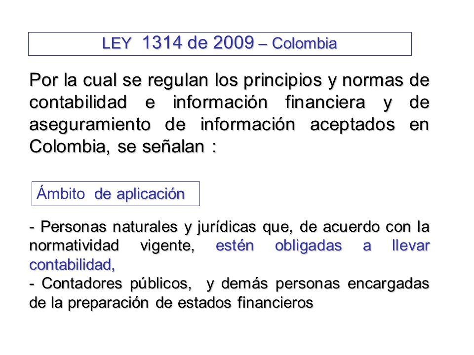 LEY 1314 de 2009 – Colombia Normas que emite Normas de Contabilidad y de Información Financiera (NCIF) Normas de Contabilidad y de Información Financiera (NCIF) Normas de Aseguramiento de Información (NAI) Normas de Aseguramiento de Información (NAI) - Normas de auditoría de información financiera historica - Normas de auditoría de información financiera historica - Normas de Auditoría Integral - Normas de Auditoría Integral - Normas de control de calidad de los trabajos y otras - Normas de control de calidad de los trabajos y otras Otros temas relacionados Otros temas relacionados Órganos Emisores Nacionales Con fundamento en las propuestas del Consejo Técnico de la Contaduría Pública: Ministerio de Hacienda y Crédito Público Ministerio de Hacienda y Crédito Público Ministerio de Comercio, Industria y Turismo Ministerio de Comercio, Industria y Turismo