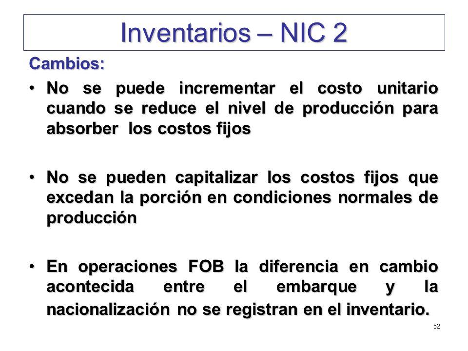 Inventarios – NIC 2 Cambios: No se puede incrementar el costo unitario cuando se reduce el nivel de producción para absorber los costos fijosNo se pue