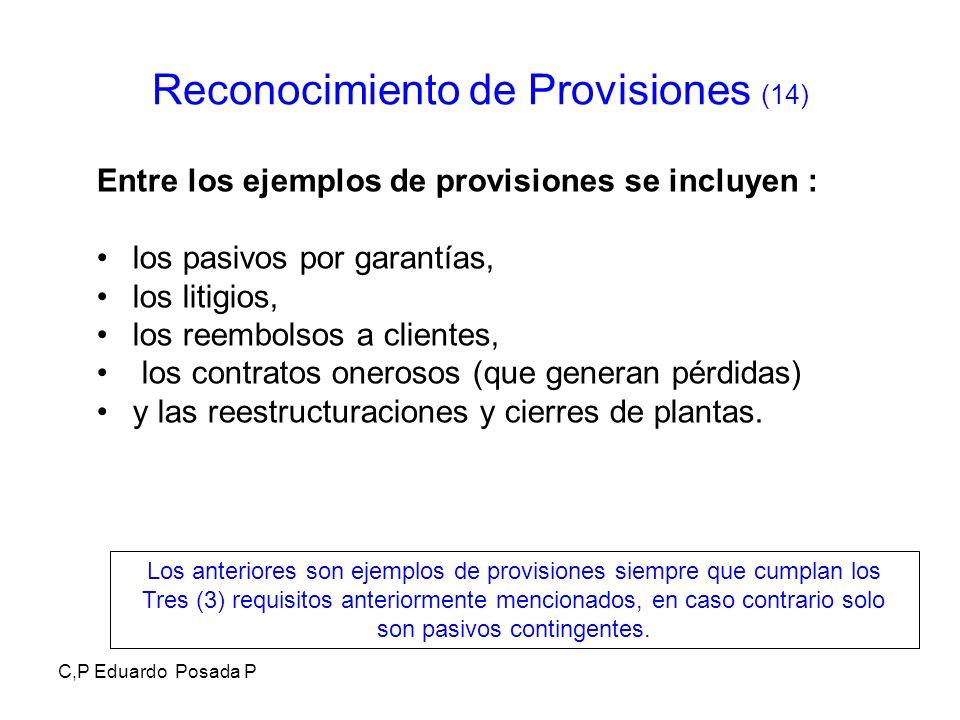 C,P Eduardo Posada P Reconocimiento de Provisiones (14) Entre los ejemplos de provisiones se incluyen : los pasivos por garantías, los litigios, los r