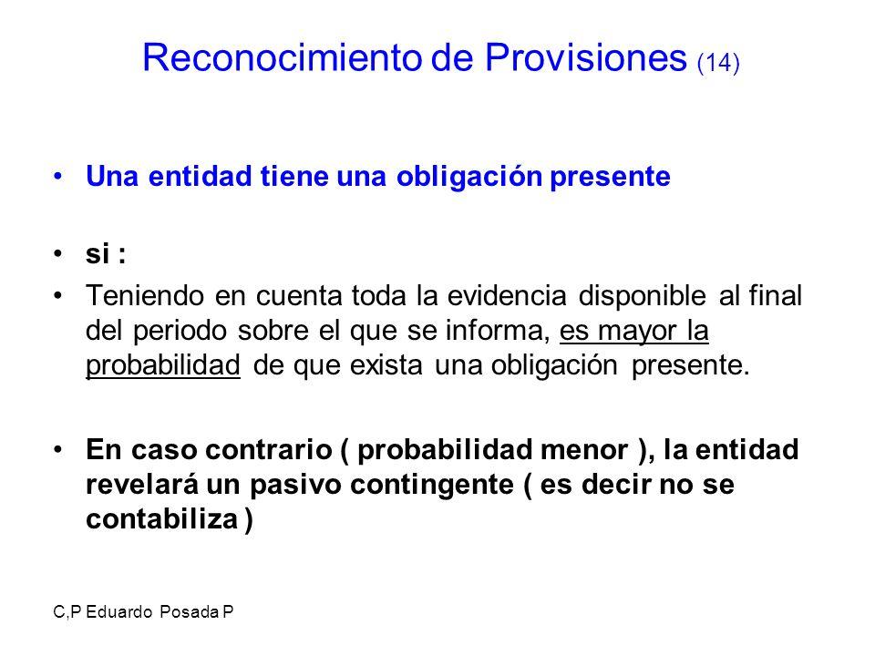 C,P Eduardo Posada P Una entidad tiene una obligación presente si : Teniendo en cuenta toda la evidencia disponible al final del periodo sobre el que