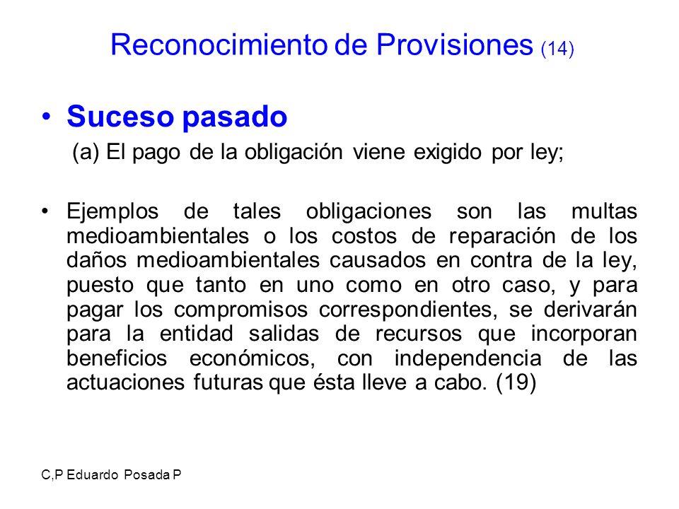 C,P Eduardo Posada P Suceso pasado (a) El pago de la obligación viene exigido por ley; Ejemplos de tales obligaciones son las multas medioambientales