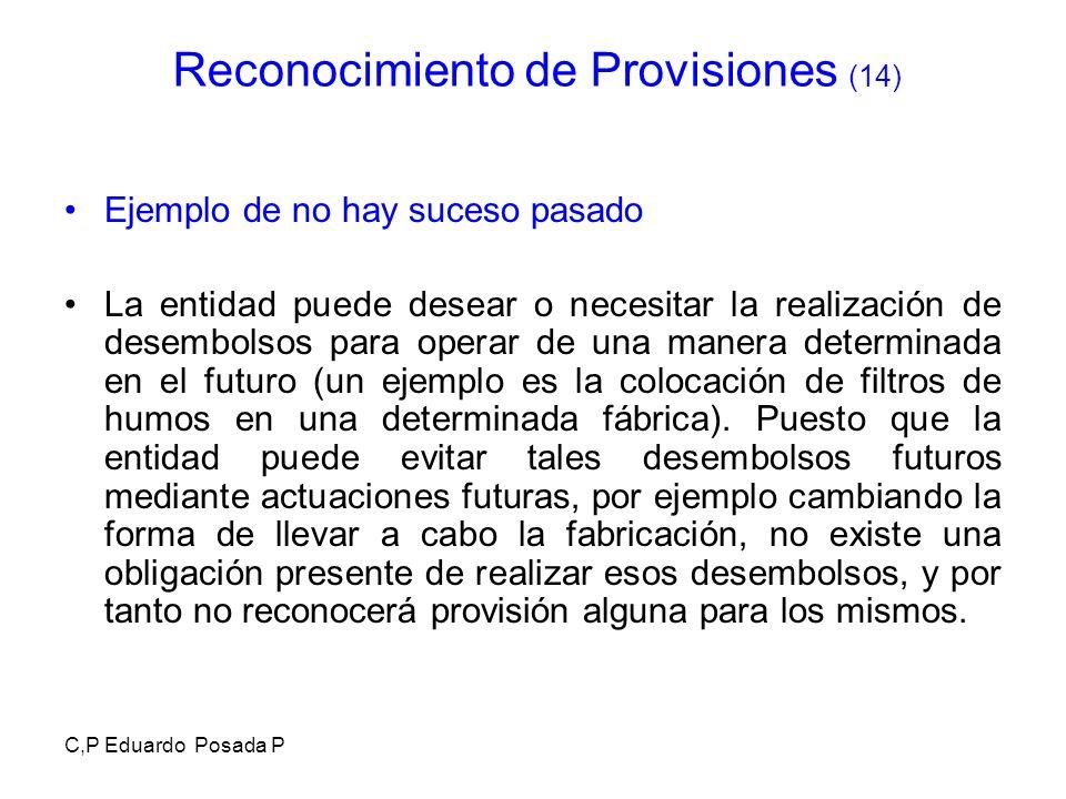 C,P Eduardo Posada P Ejemplo de no hay suceso pasado La entidad puede desear o necesitar la realización de desembolsos para operar de una manera deter