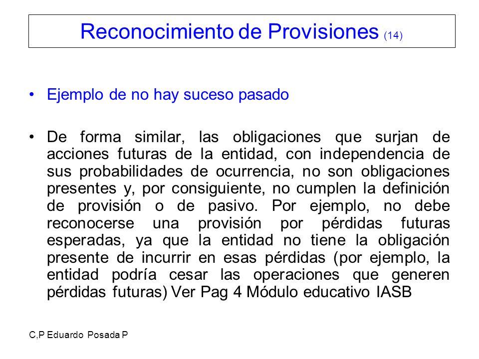 C,P Eduardo Posada P Ejemplo de no hay suceso pasado De forma similar, las obligaciones que surjan de acciones futuras de la entidad, con independenci