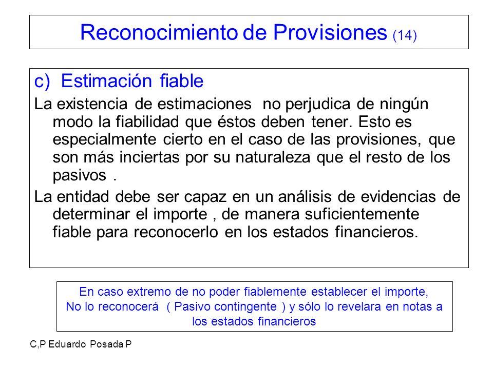 C,P Eduardo Posada P c) Estimación fiable La existencia de estimaciones no perjudica de ningún modo la fiabilidad que éstos deben tener. Esto es espec