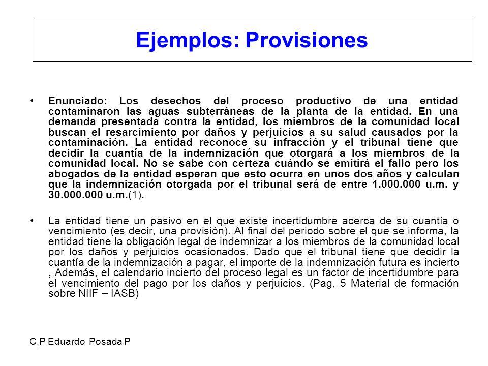 C,P Eduardo Posada P Ejemplos: Provisiones Enunciado: Los desechos del proceso productivo de una entidad contaminaron las aguas subterráneas de la pla