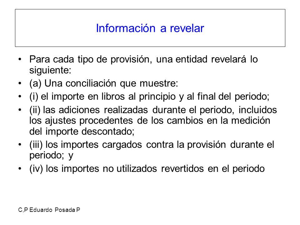 C,P Eduardo Posada P Información a revelar Para cada tipo de provisión, una entidad revelará lo siguiente: (a) Una conciliación que muestre: (i) el im