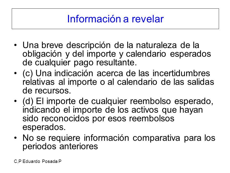 C,P Eduardo Posada P Información a revelar Una breve descripción de la naturaleza de la obligación y del importe y calendario esperados de cualquier p