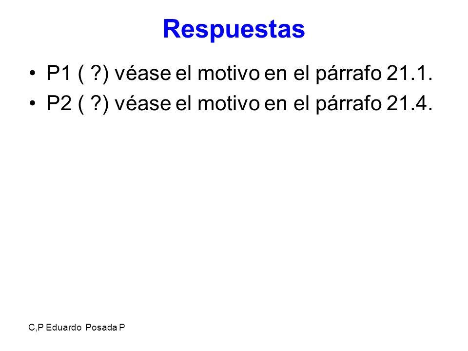 C,P Eduardo Posada P Respuestas P1 ( ?) véase el motivo en el párrafo 21.1. P2 ( ?) véase el motivo en el párrafo 21.4.